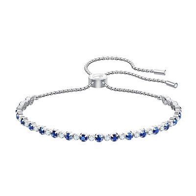 Swarovski Jewelry, Subtle Bracelet Trilogy Sapphire Crystal Rhodium Silver Medium