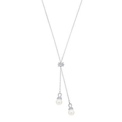 Swarovski Jewelry, Originally Necklace Y Crystal Rhodium Silver