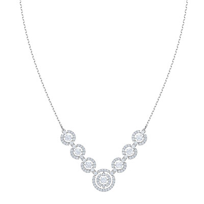Swarovski Jewelry, Sparkling Necklace Large Crystal Rhodium Silver