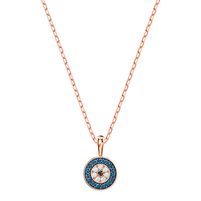Swarovski Jewelry, Luckily Pendant Round Multi-Color Rose Gold