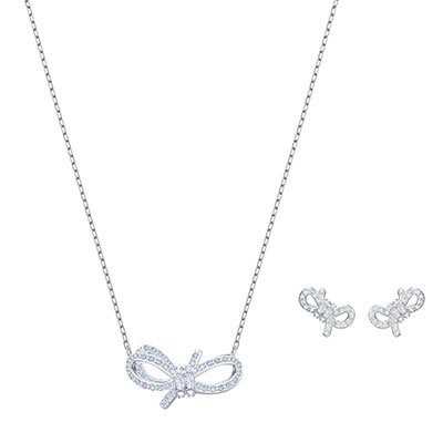 Swarovski Jewelry, Lifelong Bow Set Crystal Rhodium Silver