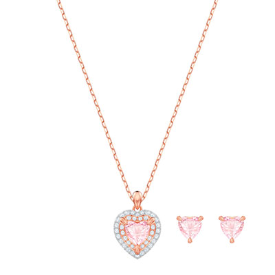 Swarovski Jewelry, One Set Pink Crystal Rose Gold