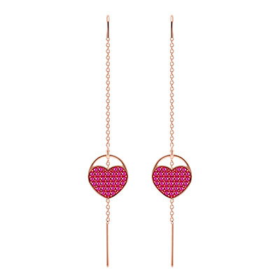 Swarovski Jewelry, Ginger Pierced Earrings Heart Fuchsia Rose Gold