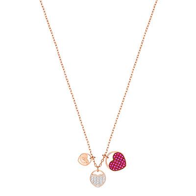 Swarovski Jewelry, Ginger Pendant Heart Fuchsia Crystal Rose Gold