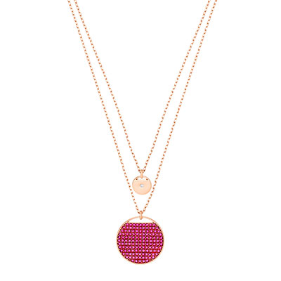 Swarovski Jewelry, Ginger Pendant Layer Fuchsia Crystal Rose Gold