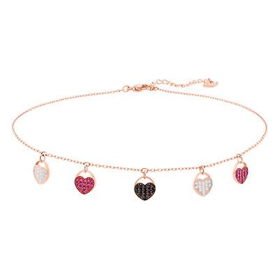 Swarovski Jewelry, Ginger Necklace Heart Choker Multi-Color Rose Gold