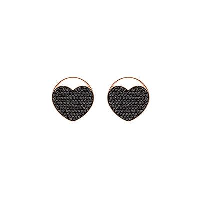 Swarovski Ginger Stud Pierced Earrings, Gray, Rose Gold