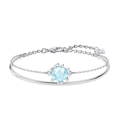 Swarovski Jewelry, Olive Bangle Round Aqua Crystal Rhodium Silver Medium
