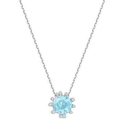 Swarovski Jewelry, Olive Pendant Round Aqua Crystal Rhodium Silver