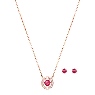 Swarovski Jewelry, Sparkling Set Round Red Crystal Rose Gold