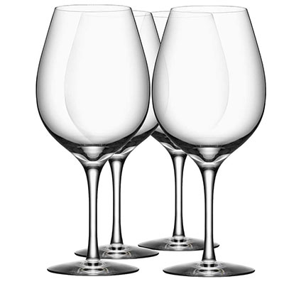 Orrefors Crystal, More Crystal Wine XL Crystal Glasses, Set of Four