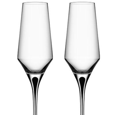 Orrefors Crystal, Metropol Black Crystal Champagne Crystal Flute, Pair