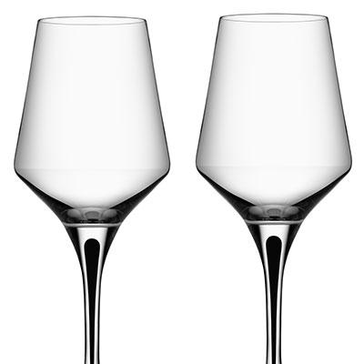 Orrefors Crystal, Metropol Black Crystal White Wine, Pair
