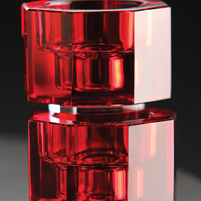 Orrefors Crystal, Totem Tranquility Crystal Candlestick Red, Pair