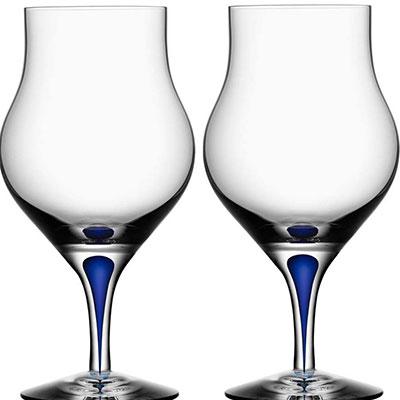 Orrefors Crystal, Intermezzo Blue Cognac Snifter, Pair