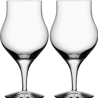 Orrefors Crystal, Intermezzo Satin Snifter, Pair