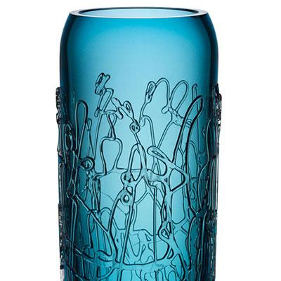 Kosta Boda Twine 15 3/4 Blue Vase