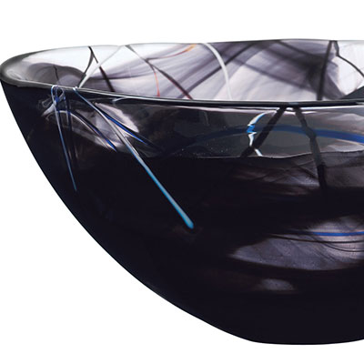 Kosta Boda Contrast Large Crystal Bowl, Black