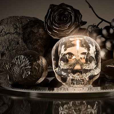 Kosta Boda Still Life Skull Votive, Clear