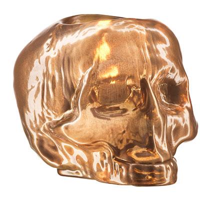 Kosta Boda Still Life Skull Votive, Copper
