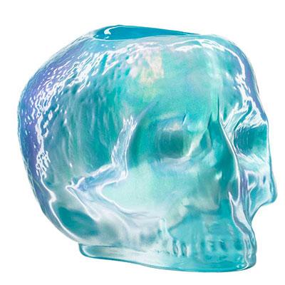 Kosta Boda Still Life Skull Votive, Light Blue