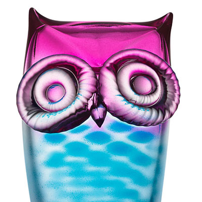 Kosta Boda My Wide Life Owl, Blue and Pink
