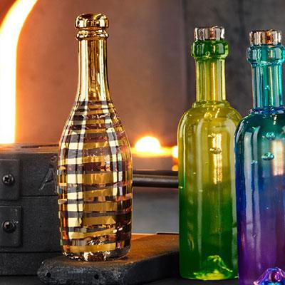Kosta Boda Celebrate Champagne Bottle, Gold