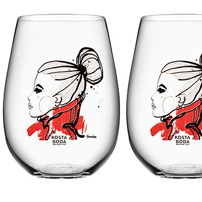 Kosta Boda All About You Tumbler Pair, Want You Red