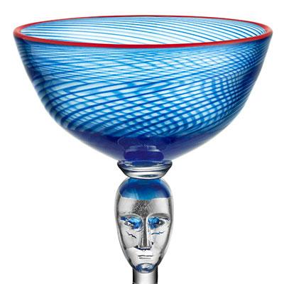 Kosta Boda Red Rim Brains Blue Footed Bowl
