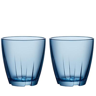 Kosta Boda Bruk Small Water Blue Tumbler, Pair