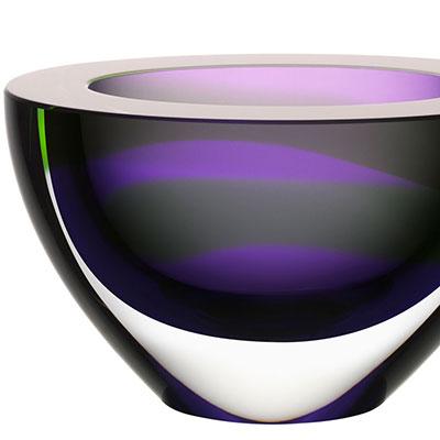 Kosta Boda Art Glass, Ludvig Lofgren Oval Bowl Purple Limited Edition