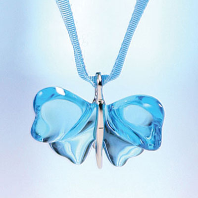 Lalique Papillons Butterfly Pendant, Light Blue Crystal