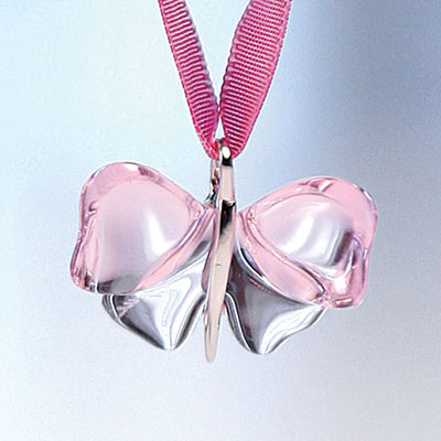 Lalique Papillons Butterfly Pendant, Pink