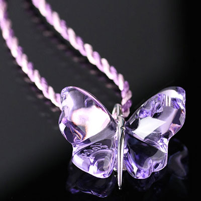 Lalique Crystal Papillons Butterfly Pendant Necklace, Parma