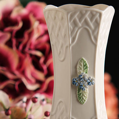 "Belleek China Trellis Forget Me Not 7"" Vase"