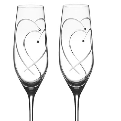 Royal Doulton, Celebrations Two Hearts Entwined Toasting Crystal Flute, Pair