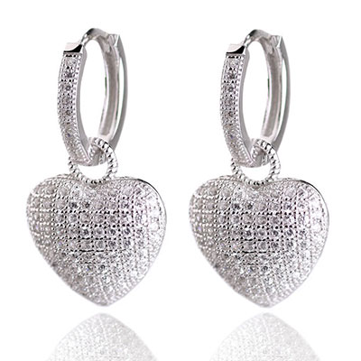 Cashs Ireland, Crystal Pave Sterling Silver Heart Hoop Pierced Earrings, Pair