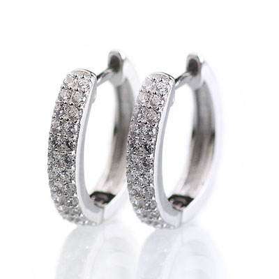 Cashs Ireland, Crystal Pave Sterling Silver Circle Pierced Earrings Pair