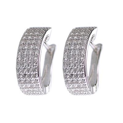 Cashs Ireland, Crystal Pave Sterling Silver Flat Hoop Pierced Earrings, Pair