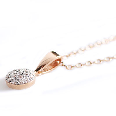 Cashs Ireland, Crystal Pave Sterling Silver, Rose Gold Round Pendant Necklace