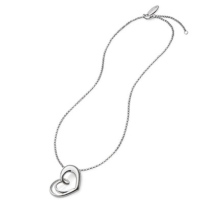 Nambe Jewelry Silver Heart Pendant Necklace