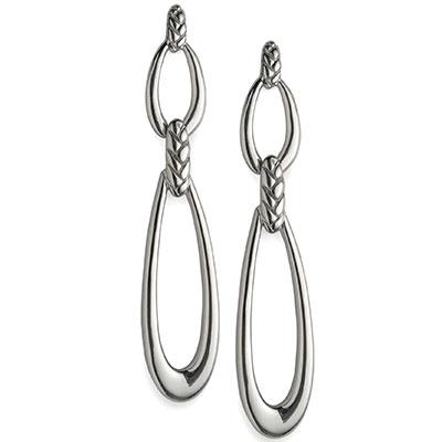 Nambe Jewelry Silver Braid Double Loop Earrings, Pair