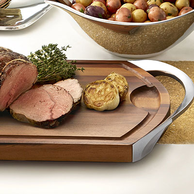 Nambe Metal and Wood Gourmet Carve and Serve Station