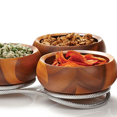 Nambe Wood and Metal Braid Condiment Server
