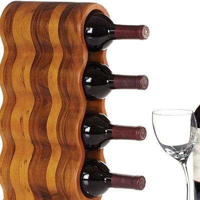 Nambe Metal and Wood Gourmet Curvo Wine Rack