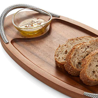 Nambe Braid Serving Board with Dipping Bowl