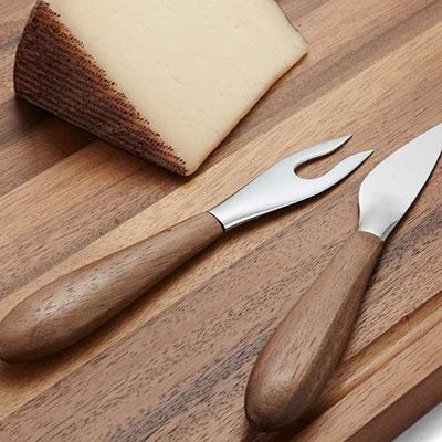 Nambe Curvo Metal and Wood Cheese Knife and Fork Set