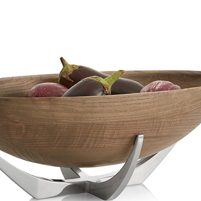Nambe Metal and Wood Cabo Oval Serving Bowl