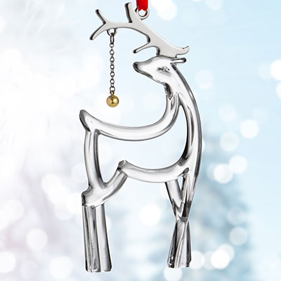 Nambe Metal and Glass Reindeer Ornament