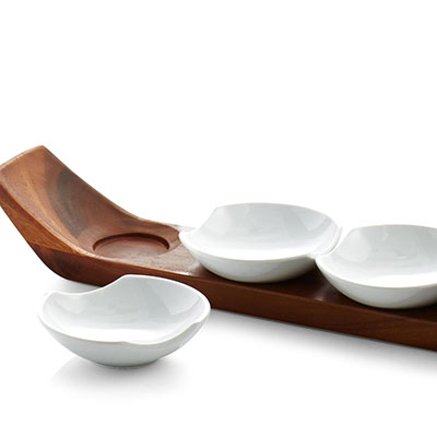 Nambe Wood and Porcelain Quatro Snack and Serve Set